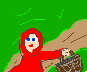 Little Red Riding Hood skips down the road