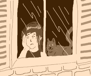 Happy cat, sad girl stare out of window.