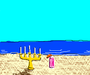 candelabra sunbathing on the beach