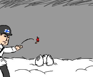 Finnish solider throwing molotov in winter war