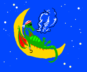 pirate dragon claims the moon as his new crib