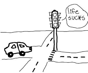 Yellow traffic light signal is sad