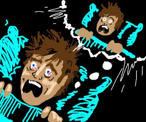 Screaming man's nightmare of a screaming man