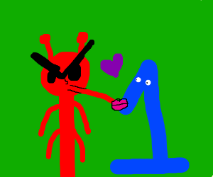 A red fury monster kissing a blue one.
