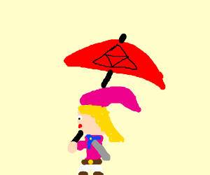 lady link with red umbrela