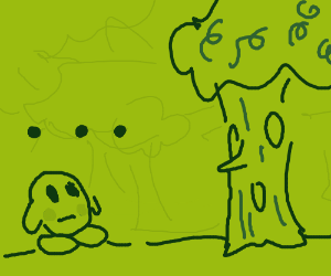 Kirby in the Whispy Woods level