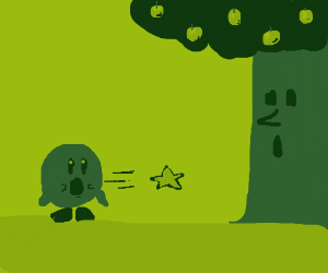 Kirby shoots a star from his mouth at a tree.