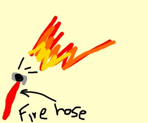 Fire hose actually sprays fire
