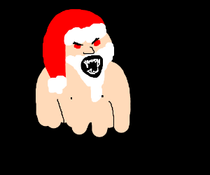 Ack! Scary naked Santa!