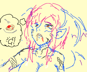 Blue demon eats all the spaghetti