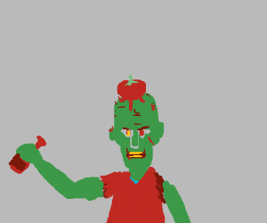 A drunk zombie got a tomato on his head