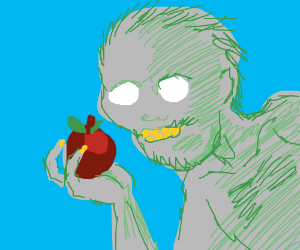 gollum grows gorilla hair, holds apple