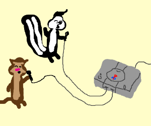 Skunks and ferrets sing to a Playstation