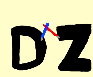 letter d and letter z fight with lightsabers