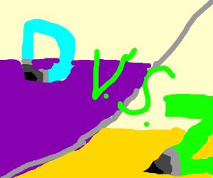 "Drawception ""D"" versus green letter ""Z"""