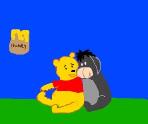 pooh & eeyore fascinated by floating honey pot