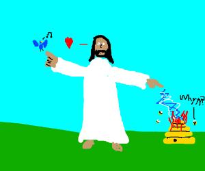 Jesus/God likes birds, hates bees