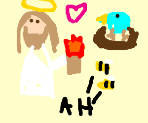 jesus in love with a bird while burning  bees