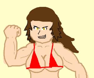 Bodybuilder woman in tight red bikini
