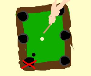 Eight ball: Bottom left corner pocket.