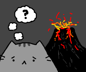 Pets question a simmering, billowing volcano.