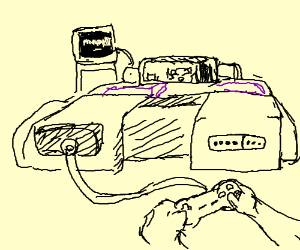 man plays videogames on a giant SNES