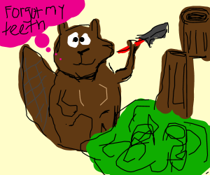 Beaver ironically cutting down a tree with axe