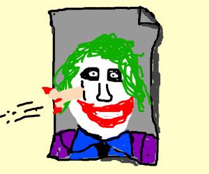 Pe nis darts getting thrown at poster of joker