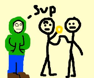 Man in green hoodie has weird timing