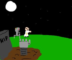 Zombie robot attacks a priest