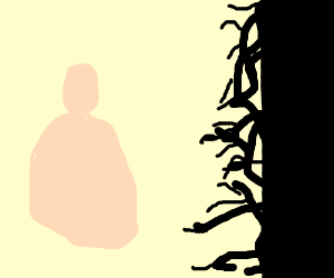 Fat man faces darkness