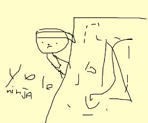 Ninja runs to hide behind hairy wall