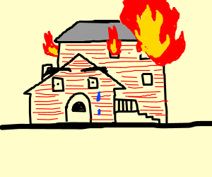 sad red house is on fire