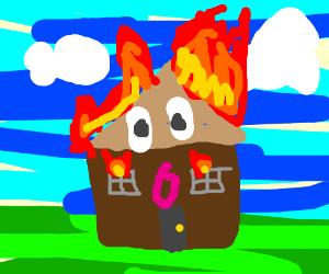 A shocked burning house