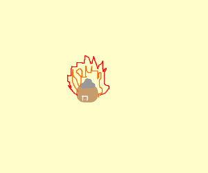 Pixelated house on fire