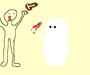 ghost chops guys nose of, guy throws t-steak