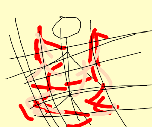 Stick figure gored by net, it's bloody violent