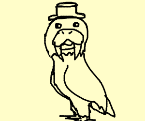 An eagle with a walrus head wears hat and ques