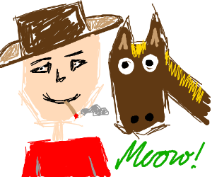 Smoking Man With A Pet Horse