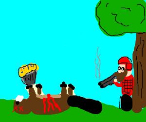 Beaver eats cupcake trap, and is shot