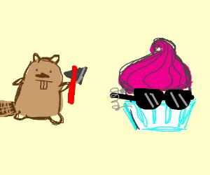 Beaver with hatchet and Secret Service cupcake