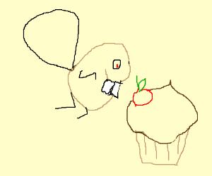 Beaver sneaks up on stylish cupcake