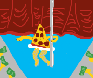 piece of pizza pole-dancing