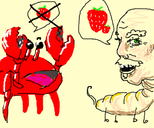 disagreeing with a crab about strawberries