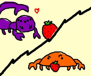 Scorpion men like strawberries - crabs do not