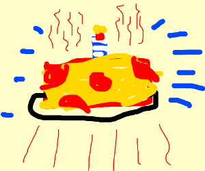 Birthday cake, but it's a pizza with pepperoni