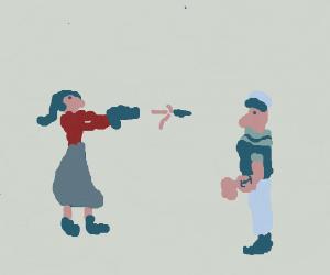 Olive Oyl Shoots Popeye