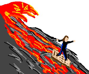 Boy surfing on a waffle on evil lava mountain.