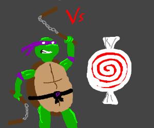 Purple Ninja Turtle fighting candy w/ nunchuck