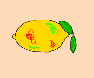 Yellow lemon with green/red scribbles on it